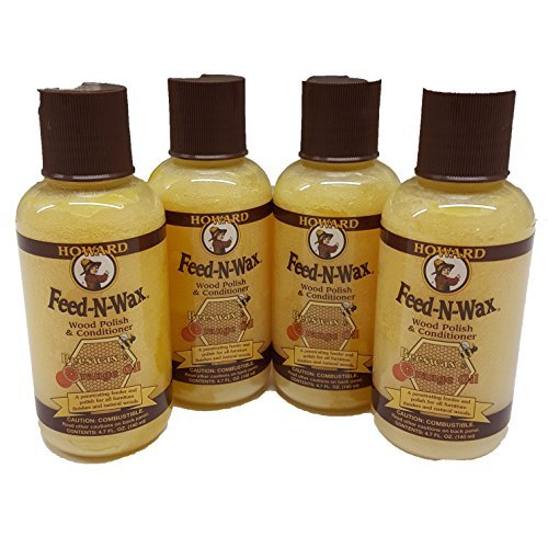 Howard Feed N Wax 4oz Beeswax, Preserve and Protect your Wood, Great Gifts. 4 x 4.7 oz Bottles from Howard