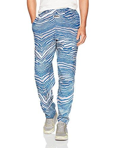 (Zubaz Men's Standard Classic Zebra Printed Athletic Lounge Pants, Cool Gray/Royal,)
