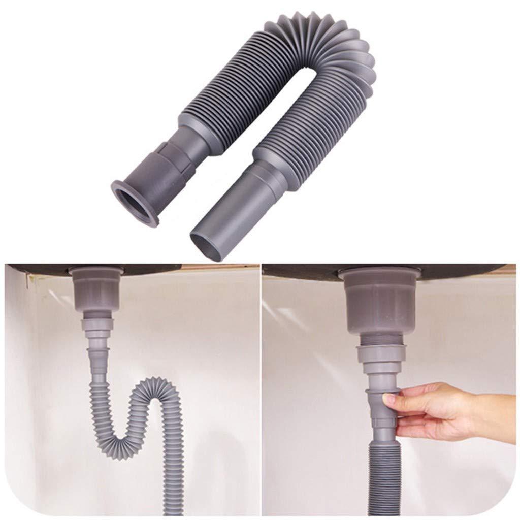 Pulison Drain Pipe Expandable Flexible Universal Kitchen Sink Sewer Drain Pipe Tube Basin Deodorant Retractable Down Pipe for Bathroom Vaniy Sink Drain Plumbing Underfloor Drain