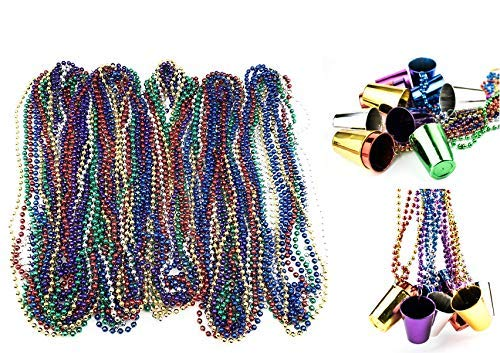72 Necklace 33 inch 07mm Metallic Multi Colors Mardi Gras Beads Beaded Necklace with Shot Glasses