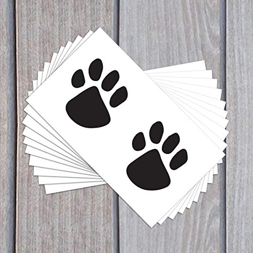 Black Paw Prints Temporary Tattoos (10-Pack) | Skin Safe | MADE IN THE USA| Removable (Tattoo Dog)