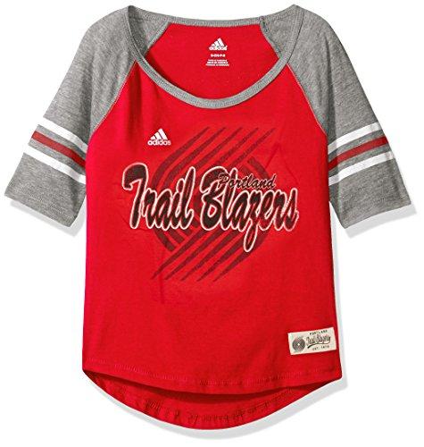 fan products of NBA Girls 7-16 Portland Trail Blazers Hi-Lo Raglan Tee-Red-M(10-12)