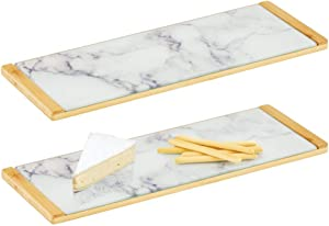 mDesign Modern Bamboo/Glass Rectangular Serving Tray for Food, Tea, Coffee, Breakfast, Snacks, Cheese, Appetizers - Use in Kitchen, Bathroom, Office, 2 Pack - Marble/Natural