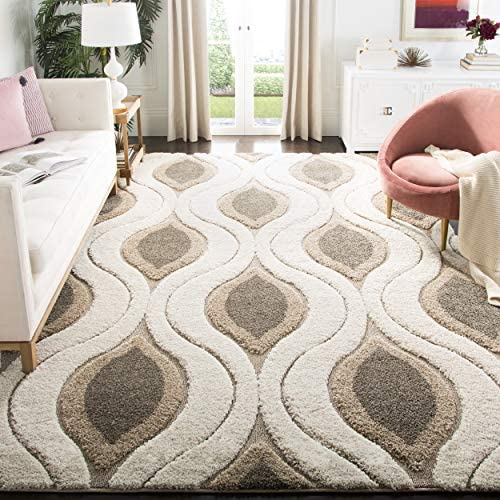 Safavieh Florida Shag Collection SG461-1179 Cream and Smoke Area Rug 9'6″ x 13'