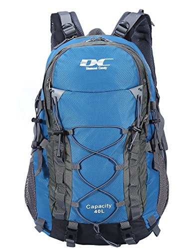 Diamond Candy Hiking Backpack 40L Waterproof Outdoor Lightweight Travel Backpacks for Men and Women with Rain Cover, Bag for Mountaineering Camping Climbing Cycling Fishing (Blue) by Diamond Candy