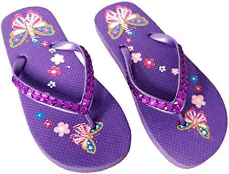 ed0f5c1c2 Cammie Girl s Jewel Upper Butterfly and Flowers Retro Flip Flop Sandals