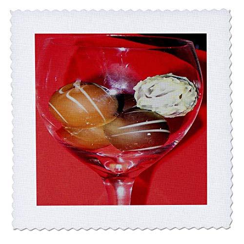 3dRose Sandy Mertens Chocolate Designs - Glass of Chocolate Truffles - 10x10 inch quilt square (qs_6013_1) ()