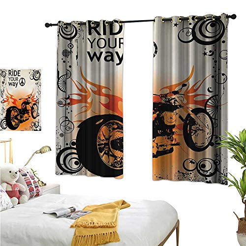 (Warm Family Eclipse Curtains Manly,Motorcycle Image with Ride Your Way Text Peace Sign Freedom Action Freestyle,Black Orange Cream 63