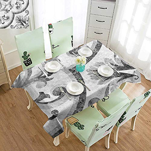 (Marble 3D Printed Long Tablecloth Baroque Rococo Style Victorian Ceramic Surface with Swirled Shabby Chic Artwork Desktop Protection pad W70 x L120 Inch Light Grey)