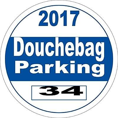 Joke Funny Decal - Fake Parking Permit Douchebag Parking 2017 Vinyl Sticker - Perfect Gag Joke Gift - Made in the USA