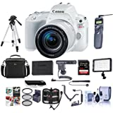 Canon EOS Rebel SL2 DSLR with EF-S 18-55mm f/4-5.6 IS STM Lens White - Bundle w/64GB SDXC Card, Camera Case, Video Light, Shotgun Mic, Spare Battery, Tripod, Shutter Release, Software Package, More