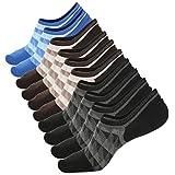 JaosWish No Show Socks For Men Low Cut Mesh Knit Non-Slide Stripes 6/5/3 Pack