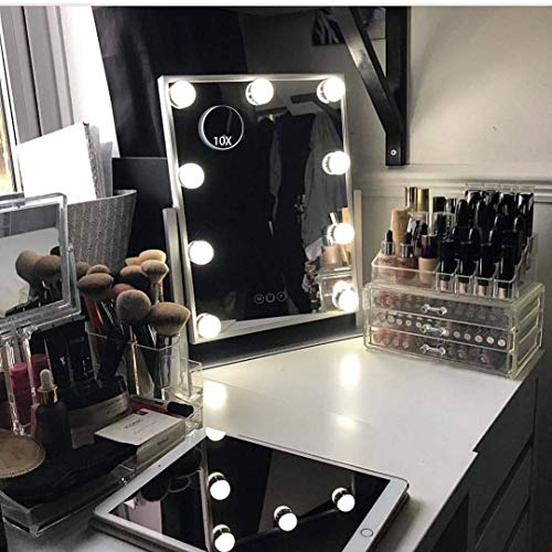 HANSONG Hollywood Lighted Vanity Makeup Mirror, Light-up Girls Professional Mirror,Removable10x Magnification,3 Color Lighting Modes, Children Cosmetic Mirror with 9 Dimmable Bulbs for Dressing Desk
