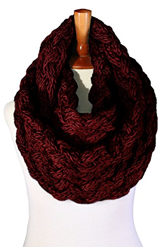 Basico Women Winter Chunky Knitted Infinity Scarf Warm Circle Loop Various Colors (Chunky Burgundy)