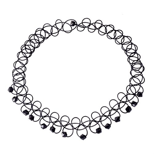 Jane Stone Alice 90s Gothic Tattoo Stretch Choker Necklace With Black Bead For Women(Fn2096-Black)