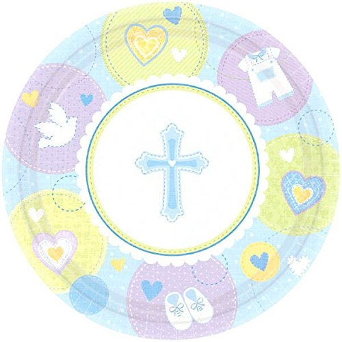 Amscan Sweet Blue Christening Party Round Luncheon Plates Tableware, Paper, 10