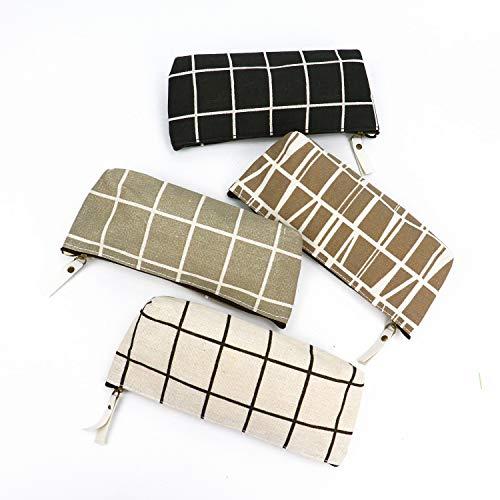 JETEHO 4 Pcs Canvas Pencil Bag Lattice Stationery Pouch Bags Pencil Holders Pen Zipper Bag Coin Bag Makeup Costmetic Bag
