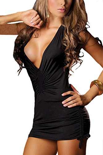 Women's Sexy Deep V Neck Nightclub Pole Dancing Dress Backless Packet Hip Temptation lingerie