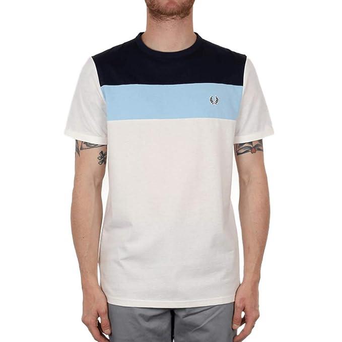 Fred Perry Colour Block Panel Camiseta Snow White: Amazon.es ...