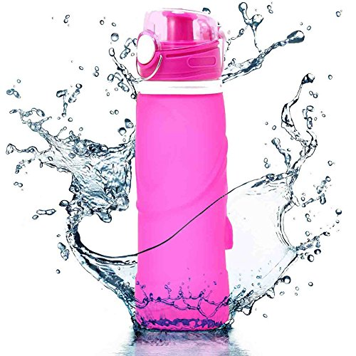 Collapsible Water Bottle, UPmall 750ml Unbreakable Foldable Leak Proof Silicone Sports Bottle, Medical Grade Silicone, BPA Free, FDA Approved ( Rose red )
