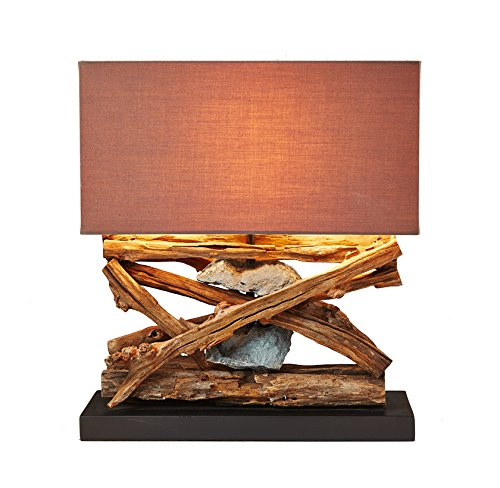 O'THENTIQUE Rustic Wood & Stone Table Lamp - Natural Reclaimed Driftwood Coastal Nautical Tropical Design - Perfect for Beach House Cabin Cottage Bedroom Living Room Office Entryway (Lamp Branch Base)