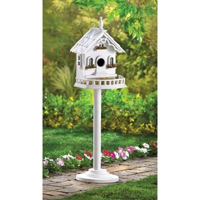 Wooden White Birdhouse Thatch Roof Hummingbird Birdhouse Chickadee Outside Ornaments Patterns For Kids Decorative Plans (Thatch House)