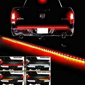 "Tailgate LED Strip Waterproof 60"" Yellow/Red/White Light Bar Truck Reverse Brake Turn Signal Tail Lights for Ford GMC Chevy Dodge Toyota Nissan Honda Truck SUV 4x4 Dodge Ram"