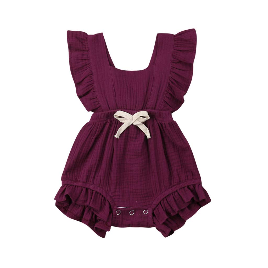 Newborn Kids Baby Girls Cute Color Solid Tassels Romper Bodysuit Jumpsuit Infant Clothes Outfits 3M-24M Wine by NIKAIRALEY Baby