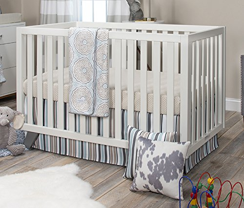 Skirt Glenna Cotton Crib Jean (Glenna Jean Luna Quilt with Sheet and Crib Skirt, Blue/Taupe/Grey/Tan)