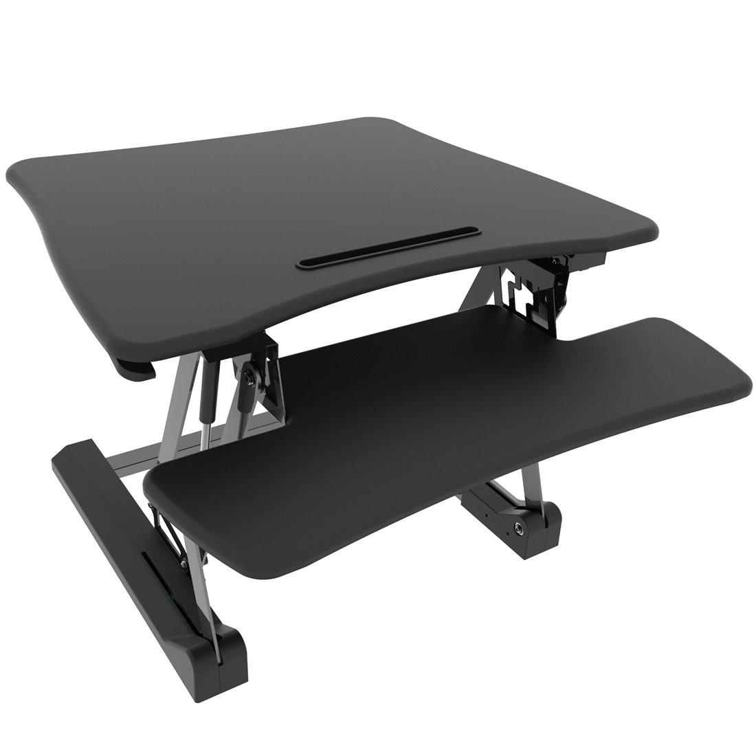 Good Life Height Adjustable Standing Desk 29'' Wide Vertical Converter Riser Stand up Sit Stand Desk Monitor Stand Computer Table Black ELC390