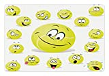 Sports Pet Mats for Food and Water by Lunarable - Tennis Ball Cartoon Characters Cheerful Silly Funny Surprised Confused - Rectangle Non-Slip Rubber Mat for Dogs and Cats - Yellow Pink Blue White
