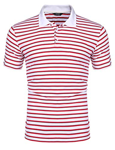 COOFANDY Men's Short Sleeve Polo Shirts Slim Fit Casual Striped Polo T Shirts with Pocket White