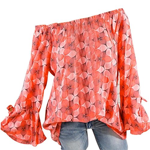 Ladies Stampa Arancia Casuale T Shirt Taglia Sciolto Tops Camicetta Grossa Top Donna Camicie BaZhaHei FwIqEAf