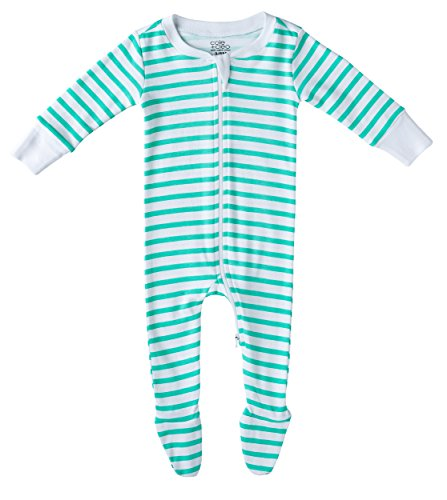 Cole + Cleo Baby GOTS Certified Organic Footed Sleeper Pajama 6-9, Mint Stripe by Cole + Cleo