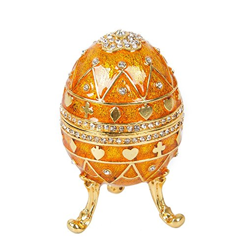 QIFU-Hand Painted Faberge Egg Style Decorative Hinged Jewelry Trinket Box Unique Gift For Home (Egg Enamel Box)