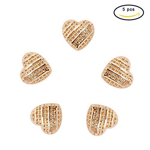 PandaHall Elite Environmental Rack Vacuum Plating Brass Hollow Heart Beads Craft Assortments Light Gold 13.5x15x10.5mm about (Environmental Rack Monitor)