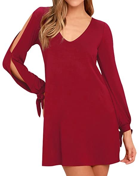 751d2c01aeb4e5 BomDeals Womens Shift Dress, Cute Soft Casual V-Neck Long Sleeves Cold  Shoulder Cutout Tunic at Amazon Women's Clothing store: