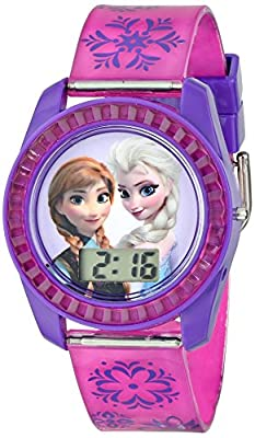 Disney's Frozen Kids' Digital Watch with Elsa and Anna on the Dial, Purple Casing, Comfortable Pink Strap, Easy to Buckle, Safe for Children - Model: FZN3598 from Accutime Watch Corp.