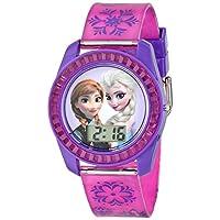 Reloj digital Frozen para niños de Disney con Elsa y Anna en la esfera, carcasa de color púrpura, correa cómoda de color rosa, fácil de abrochar, seguro para niños - Modelo: FZN3598