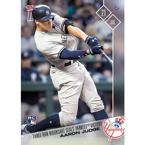 Aaron Judge 2017 Topps Now Rookie Phenom (RC) #379 - Limited Edition Print Run - Shipped in a protective screwdown holder plus bonus includes A 2016 Leaf Babe Ruth card, 2017 Topps Gary Sanchez and 2017 Topps Derek Jeter cards - Great for any Yankees Fan