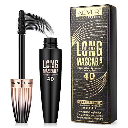 4D Silk Fiber Lash Mascara Waterproof Voluminous Long Lasting with 180 Degree Flexible Brush, Thick and Lengthening Eyelash Mascara, Black