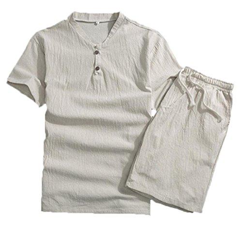CRYYU-Men Summer Cotton and Linen 2 Piece Outfits T-Shirt & Beach Shorts Creamy White US 3XL