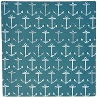 3dRose LLC 8 x 8 x 0.25 Inches Mouse Pad, Teal Blue Anchor Pattern Vintage Nautical Turquoise Sailor Theme Aqua Sea Ocean Ship Anchors (mp_120196_1)
