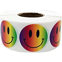 Smiley Face Circle Dot Stickers, 1 Inch Round, 500 Labels on a Roll