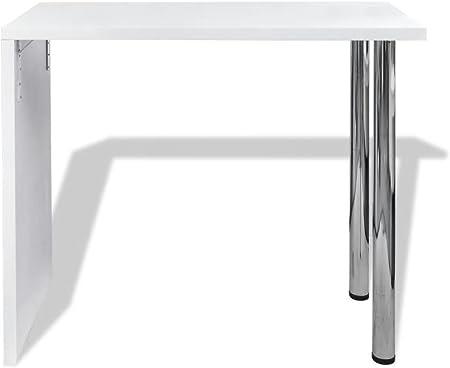 mewmewcat Mesa Alta de Cocina con 2 Patas de Acero 117x57x105cm Blanco Brillante