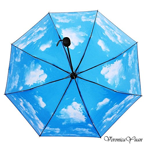 Travel Umbrella – Collapsible Rain and Sun Umbrella, 9.4 inch Super Compact, 8 Rib Strong Enough Windproof Frame, Anti UV, Lightweight (Black/Sky)