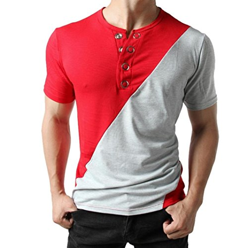 iOPQO T-Shirt for Men, Fashion Button Blouse Short Sleeve fit Patch Work Tops