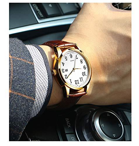 N·XHXL 2 st. män och kvinnor kvartsur matchande set, hans och din armbandsur med datumfönster, 3 ATM vattentät/brunt läderarmband