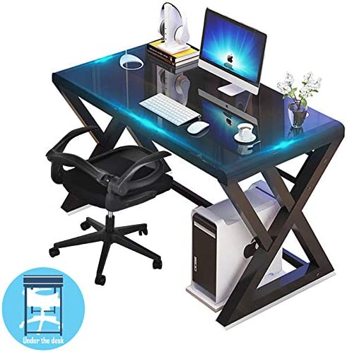 URRED Computer Desk and Chair Set, Computer Desk Glass Top and Metal Frame, Desk Table for Computer Desk Gaming Modern Study Office Work Desks for Home Office Small Black 55.1 inch Black Chair