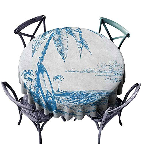 ScottDecor pad Round Tablecloth Circular Table Cover Surf,Contemporary Sketch Illustration Hawaiian Beach with Surfboard Palms and Ocean Water, Blue White Diameter 50